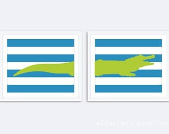 Crocodile Art Print - Set of 2 Prints - Alligator Print - Crocodile Wall Art - Alligator Nursery Decor - Blue and Green Art - Aldari Art