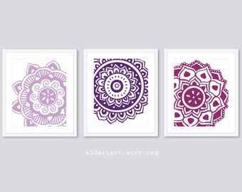 Mehndi Flower Art Prints - Mandala Wall Art  - Modern Decor - Flower Wall Art - Set of 3 - Purple Decor - Aldari Art