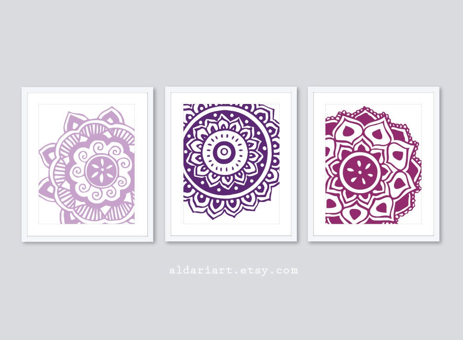 Mehndi Flower Art Prints Mandala Wall Art Modern Decor
