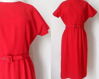 60s Lipstick Red Wool Tea Length Wiggle Sheath Dress with High Neckline and Dolman Sleeves Retro Kitsch Pinup size 8/10
