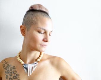 tribal bold geometric necklace , grey white wood , minimalist contemporary jewelry