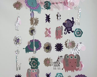 Baby Mobile Nursery Jungle Mobile Animal Mobile Flower Mobile Pink Gray Purple Sage Teal Cocalo Jacana Jungle