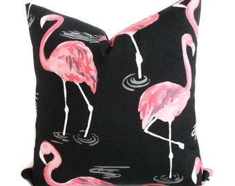 Pillow Cover Large Pink Flamingos on Black Indoor Outdoor