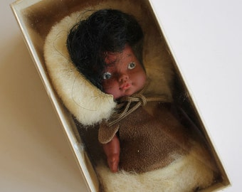 Vintage 1960's Alaska Souvenir DOLL...Real Fur and Leather...MIB