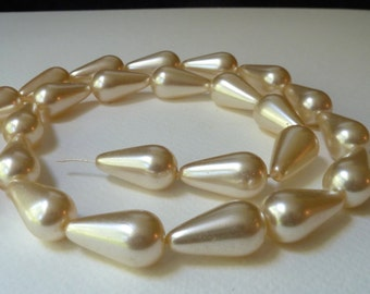 Vintage Ivory Glass Pearl Teardrops - Pear Shape - 23x13mm - Coated Glass - Satiny Finish - Perfect Earring Components - Qty 4 pcs
