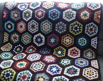 Handmade Crochet Multi-Colored Kaleidoscope Afghan With Dark Brown (Espresso) Edging 48 x 68