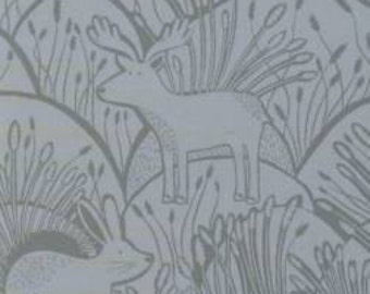 Grey Tonal Animal Etching Fabric, Wildwood Collection for Dear Stella, Woodland Etching in Grey, 1 Yard