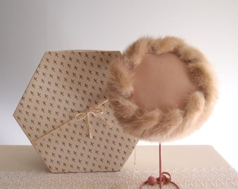 1960s velvet and mink fur hat in a honey blonde beige...new old stock with tag, receipt, and hat box