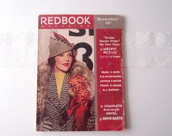 1930s Redbook Magazine complete issue November 1935 Pearl S Buck, Ogden Nash, the downfall of Dillinger, Baby Face Nelson, & more