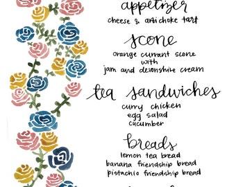 custom tea party menu - digital file size A2 - tea party, menu, high tea, tea menu, classic, custom, event, dinner, tea, party, bride