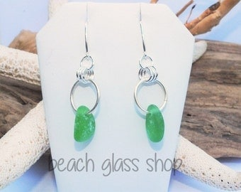 Sea Glass Earrings - Sterling Pierced Earrings - Lake Erie Beach Glass - Mermaid Tear Earrings - FREE Shipping in US