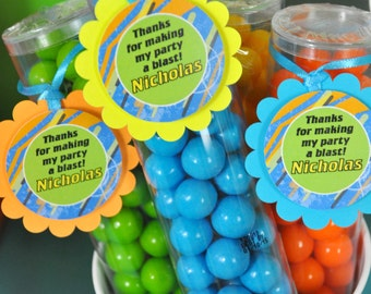 Nerf Party Favor Tags, Nerf Wars Birthday Party Favor Tags, Laser Tag Birthday Party Favors, Thank You Tags - Set of 12