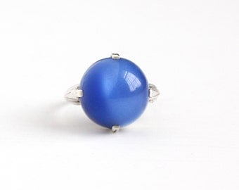 Vintage Sterling Silver Art Deco Dark Blue Moonglow Lucite Cabochon Ring - Size 7 Adjustable 1930s Simulated Sapphire Statement Jewelry