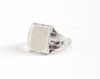 Vintage Silver Silver Art Deco Blank Signet Ring - 1930s Size 3 3/4 Geometric Rectangular Pinky Ring Jewelry Signed C&C Clark and Coombs