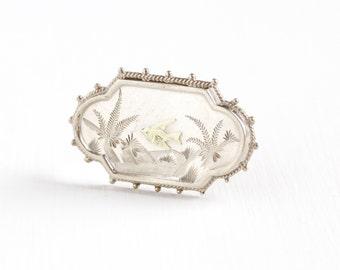Sale - Antique Silver & Yellow Gold Wash Bird Pin - Vintage Victorian Bird in Flight Fern Landscape Etruscan Revival Gilded Brooch Jewelry