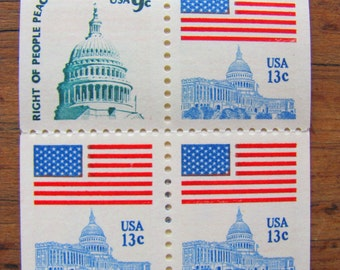 Right of People Peaceably to Assemble Booklet of 8 Vintage UNused US Postage Stamps 13c 9c Fight the Power Politics Protest Save the Date