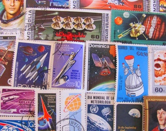 Final Frontier 50 Vintage Postage Stamps Space is the Place Moon Landing Nasa Cosmonaut Astronaut Planets Sun US Worldwide Astrophile Stars