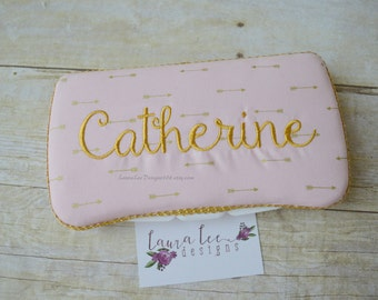 Light Pink with Metallic Gold Arrow, Travel Wipe Case, Diaper Wipe Case, Personalized Wipe Case, Baby Wipe Case, Baby Shower Gift, Wipecase