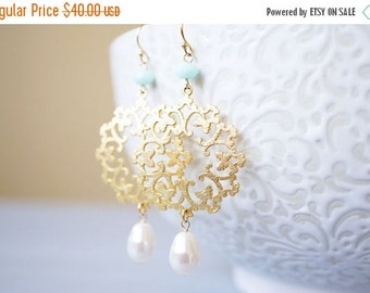 15OFFSALE Earrings, Gold Earrings, Pearl Earrings, Mint Earrings, Crystal Earrings, Snowflake Earrings, Yellow Gold, Swarovski, No. EGH002