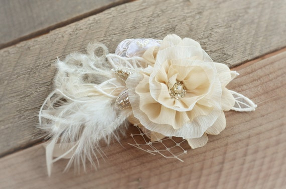 AUGUST SALE of Bridal Champagne Ivory Hair Flower,Champage Taupe and Ivory Hair Flower,Bridal Lace Vintage Style Hair Flower with Feathers
