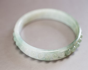 Studded Olive Green and White Jadeite Bangle