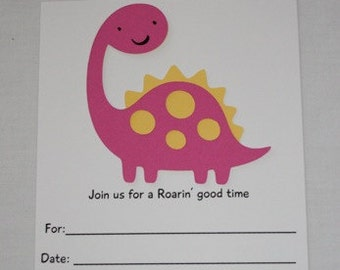 pink and Yellow dinosaur invitations