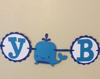 Blue WHALE Happy Birthday Banner Under the sea Nautical