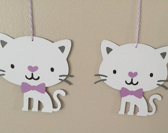 Kitty Cat Oversized goodie bag tags birthday party cat kitty purple bow