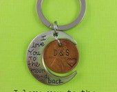 I Love You To The Moon And Back Keychain with Stamped penny - husband, wife - Boyfriend, girlfriend - Anniversary gift, moon keychain