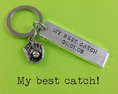 Anniversary Gift - My Best Catch Personalized Keychain - My Best Catch - Baseball - Wedding Keychain - Baseball Keychain