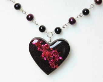 Red and Black Glitter Galaxy Heart Resin Necklace
