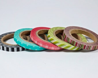 Thin Washi Tape - Black Stripes, Teal Dots, Red Gingham, Green Stripes, Red and Green Stripes - Set of 5