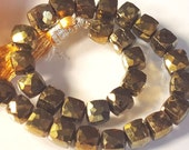 Bronze Spinel Faceted Cube beads-semi precious-Designer Quality-Full strand