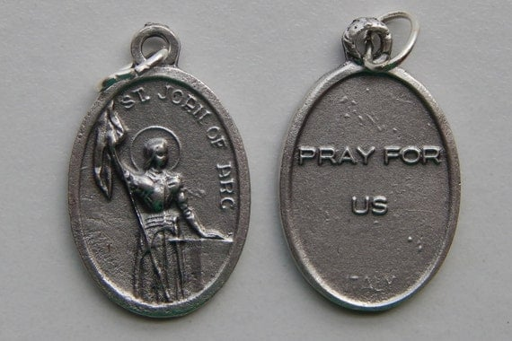 5 Patron Saint Medal Finding - St. Joan of Arc, Small Pray, Die Cast Silverplate, Silver Color, Oxidized Metal, Italy Made, Charm, RM505