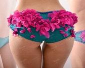 Bloom Panties Tulle Ruffle Briefs Violet and Turquoise Braided Edge Undies Floral Bikini Designer Lingerie Luxury Panties