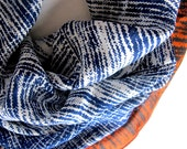 Abstract Silk Scarf Glentex navy blue white rust