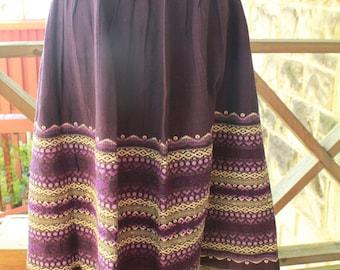 Vintage 50s Guatemalan Embroidered Purple Skirt