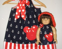 Minnie Mouse dress red white blue pillowcase dress Disney Pillowcase dress  clothing matching doll dress 12,18 month 2t,3t,4t,5t,6,7,8,10,12