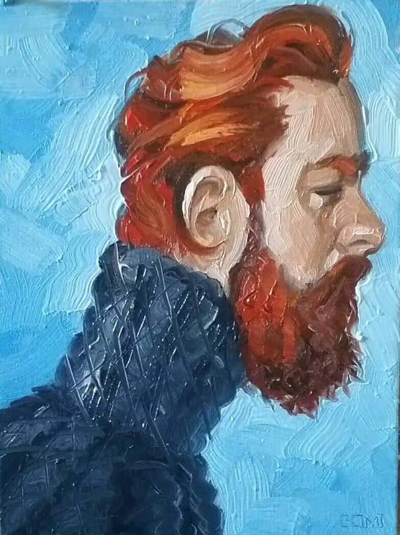 Ginger Bear in a Turtleneck Sweater, oil on canvas panel 11x14 inches, by Kenney Mencher (gay art)  www.Kenney-Mencher.com