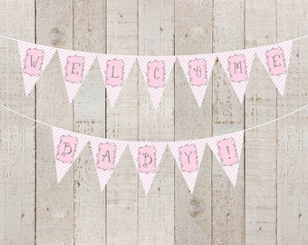 Pink Stripes Baby Shower Banner Welcome Baby Banner Baby Girl Pink Bride to Be Bridal Shower Banner Pink Happy Birthday - INSTANT DOWNLOAD