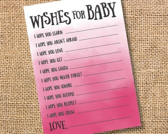 Wishes for Baby Hot Pink Ombre Printable Baby Shower Baby Girl Twins Fuchsia Watercolor Baby Wishes Advice Card Bright Pink INSTANT DOWLOAD
