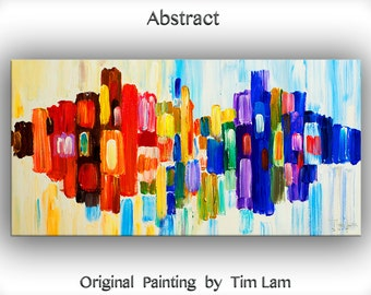 "Art, Painting, Oil, Original art, Texture wall Art, abstract painting, oil painting, canvas art, Home Decor painting, by Tim Lam 48"" x 24"""