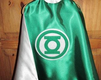 Green Lantern Superhero Cape / Super Hero Cape / Childrens Cape / Authentic Green Lantern Cape / Reversible Cape