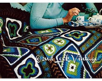 Vintage Crochet Pattern Afghan Custom Granny Squares 1970s Digital Download PDF