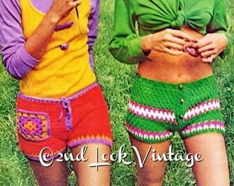 Vintage Crochet Pattern 1970s Hip Hugger Hot Pants Short Shorts Digital Download PDF