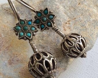 VINTAGE uzbek earrings silver  carnelian asian kuchi nomad pashtun
