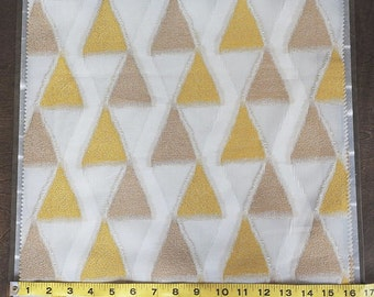 Custom Curtains in Sheer Ivory / Grey with Chartreuse / Beige Triangle Pattern One Panel Custom sizes available