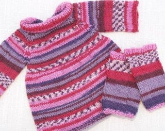 Waldorf Doll Clothes - Knitted Doll Dress and Legs warmers - Hand Knitted Doll Outfits , fit 15 inch dolls