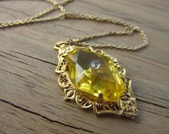 Antique Pendant Glass Citrine Stoned Pendant Rhinestone Center Goldplated Open Cut Filigree Setting