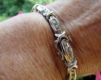 Vintage 925 Sterling Diamond Bracelet Sterling Button fold Clip Closure